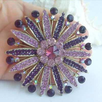 Accessories Bouquet Flower Brooch Pin,Purple Rhinestone Crystal EE04076C5