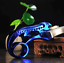 Blue Archery Slingshot Hunting Catapult Level Meter Lamp Aiming Flat Rubber Band