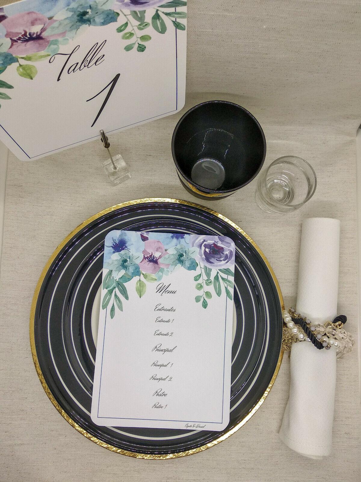 Menú para boda. Tarjeta con el menú. 10 tarjetas impresas