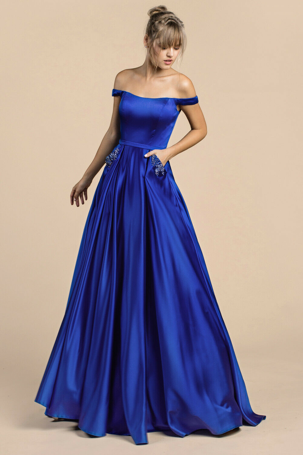 Andrea & Leo A0246-Color:Royal-Size 8- Mother of the Bride