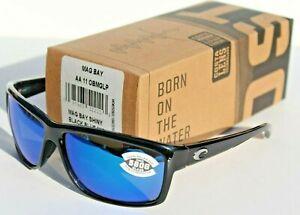 New Costa del Mar Mag Bay Polarized Sunglasses Black//Blue Mirror 580G Glass
