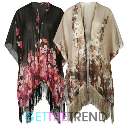 Womens Floral Tassle Loose Kimono Ladies Flowers Baggy Open Cardi Kimono Top