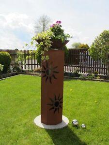 8Eck-Saeule-Sonne-Edelrost-Rost-Deko-Garten-Deko-Metall-Stele-Saeule-Rost-Dekoline