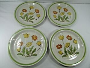 """Country Casual Sunnyvale Stoneware Dinner Plates 10-1/2"""" Set of 4 Vintage JAPAN"""