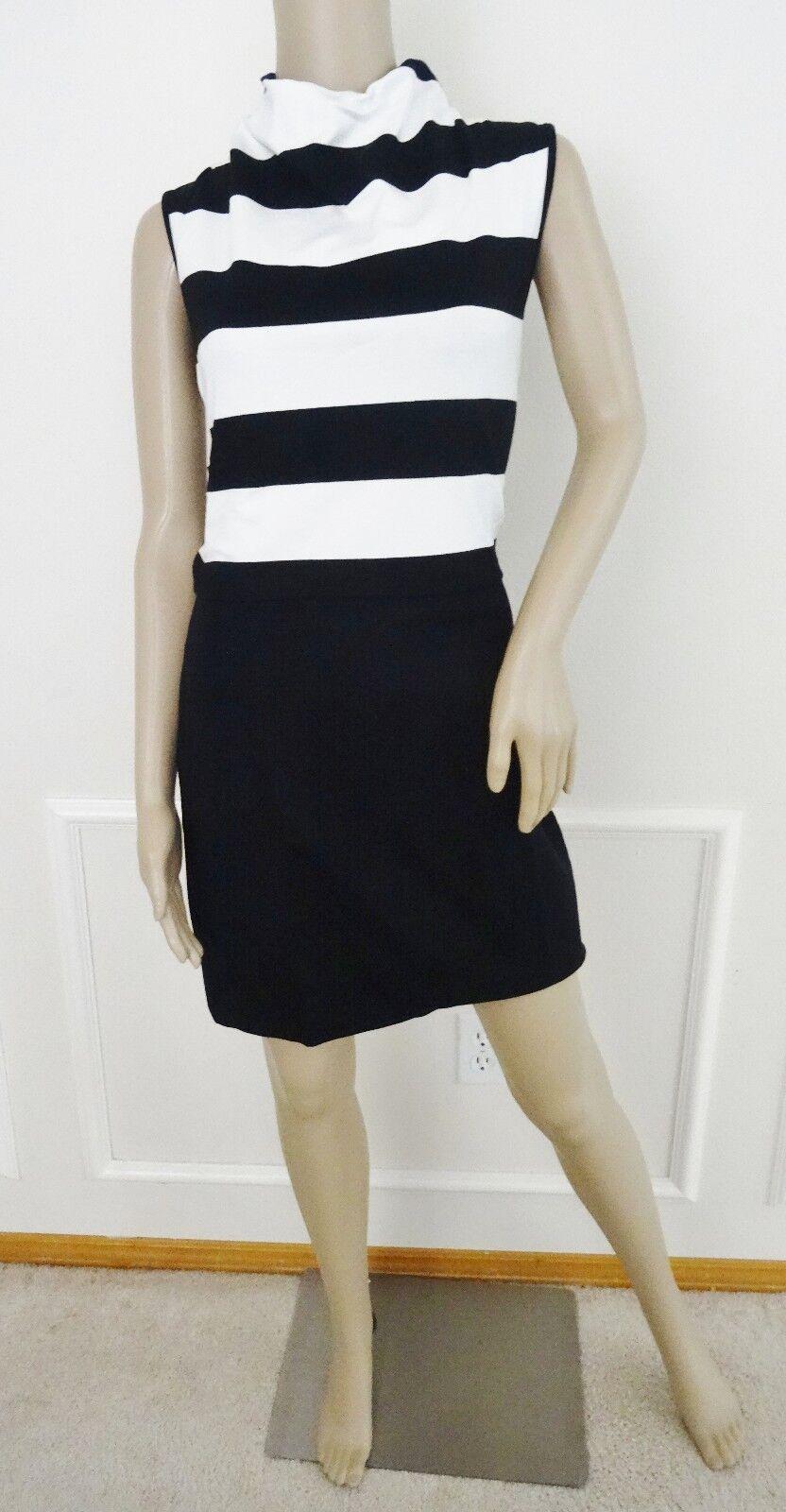 Nuevo con etiquetas etiquetas etiquetas French Connection Polca Plains Stripe Jersey popover del vestido SZ 12 Negro blancoo 690609