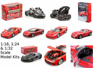 Maisto-BBURAGO-1-18-1-24-1-3-2-1-43-Ferrari-modelo-diecast-Kit-de-ensamblaje