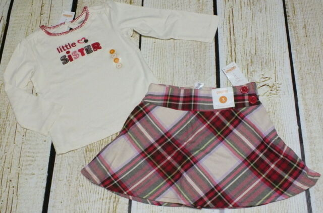 NWT 3T Gymboree Winter Cheer Christmas little sister top & brown plaid skirt set