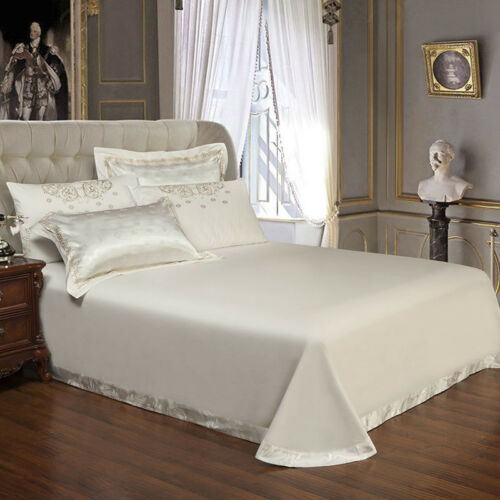 Silver 6pc Luxury Silk Embroidery Jacquard Queen King Duvet Cover bedding set