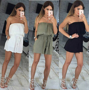 Womens-Holiday-Casual-Mini-Playsuit-Ladies-Jumpsuit-Summer-Beach-Dress-Size-S-XL