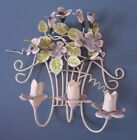 3 Candle Votive Holder Wall Sconce Chic Shabby White Decor