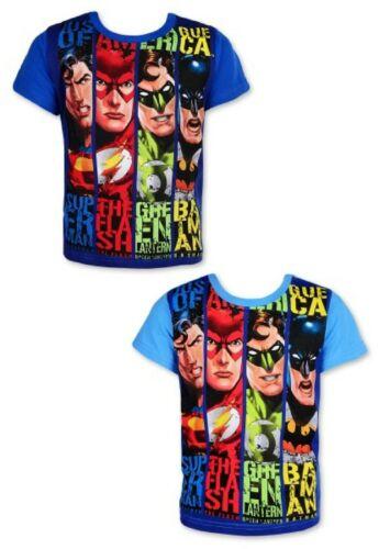 Boys Justice League T-shirt Kids Batman Flash Superman Short Sleeve Top Age 4-10