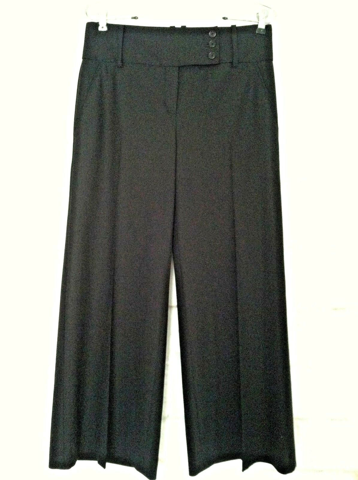 New BCBGMaxazria 4 damen pant schwarz Kleid trouser wide Wolle flap pocket  138