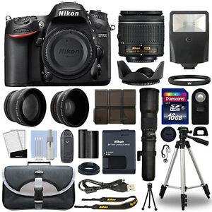 Nikon-D7200-DSLR-Camera-4-Lens-18-55mm-500mm-16GB-Telephoto-Kit