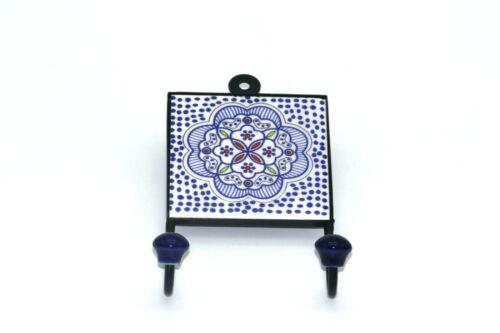 """Céramique vintage bohême style Square pour manteau//TOUCHES fait main 4x9/"""" Bleu marine"""
