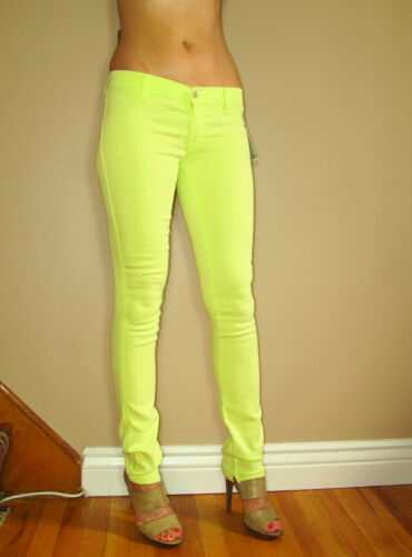 $195 TEXTILE Elizabeth/&James Mick Skinny Neon Lime Green Zip Leg Jeans 26 New
