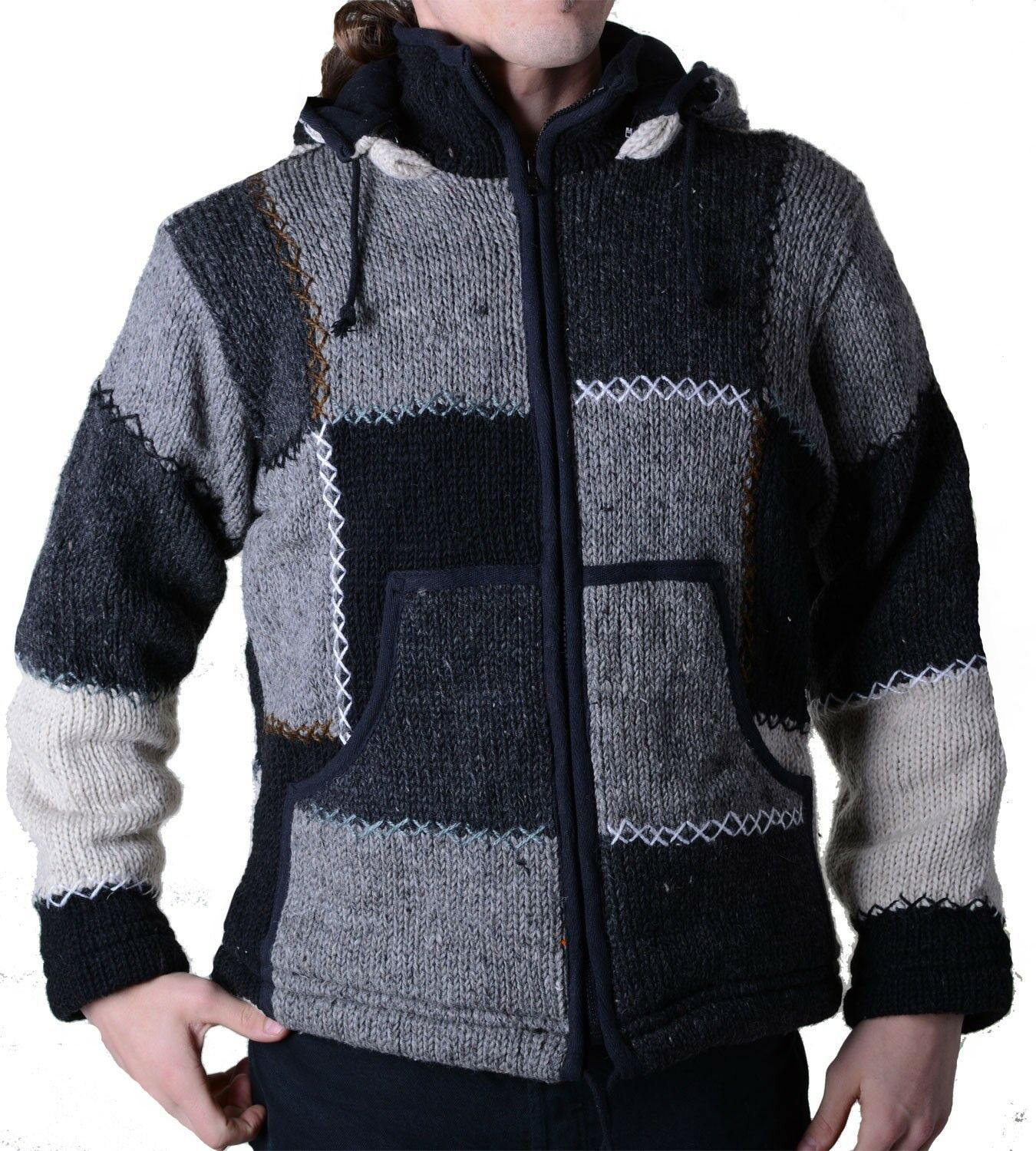 Men's Patchwork Cardigan with Fleece and Removable Hood