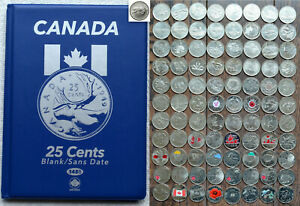 1967-2020-CANADA-90-Pcs-Full-Commemorative-Color-25-Quarter-Collection-in-Album