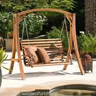 Outdoor Patio Furniture Stained Wood Swinging Bench and Base