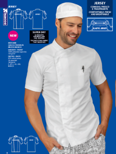 GIACCA CUOCO CHEF FRANKLIN M\M 100% POL SUPERDRY ELASTIC JERSEY BIANCO ISACCO