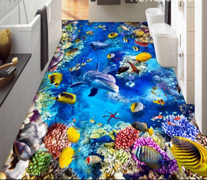 3D mundo submarino Papel Pintado Mural Parojo Calcomanía estampado de animales 5D AJ Wallpaper