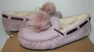 9ded2f08877 Details about UGG Dakota Pom Pom Dusk Suede Moccasin Shoes Pink New With  Box!