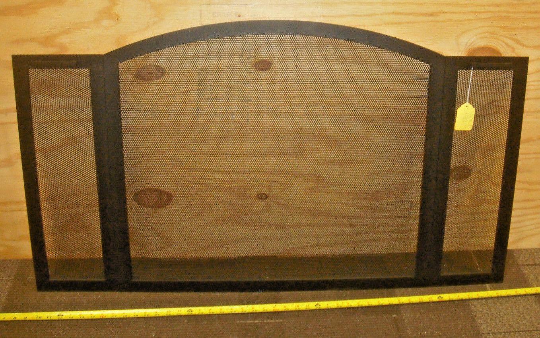 Pantalla de panel de 3 tradicional Stoll Negro De Hierro Forjado 30″H X 33  X 8  Centro De Alas