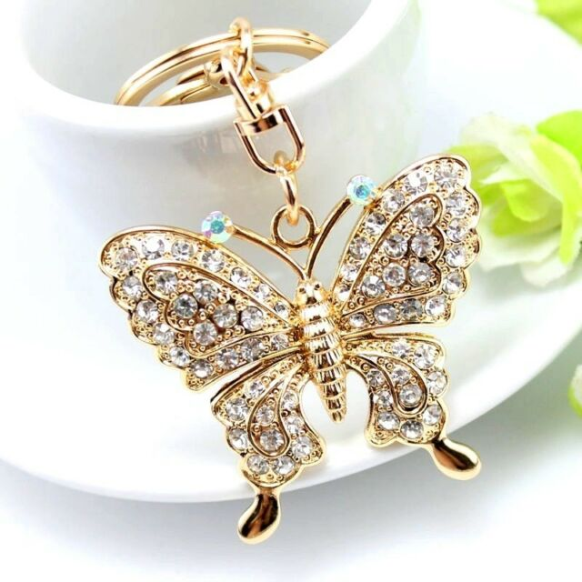 High Quality Rhinestone Butterfly Jewelry Keychain Key Holder Chain Rings