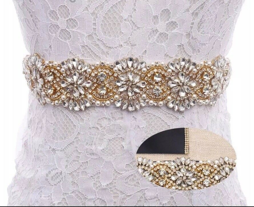 Gorgeous Bridal Wedding Dress Gold Encrusted Crystal Pearl Ivory Ribbon Sash