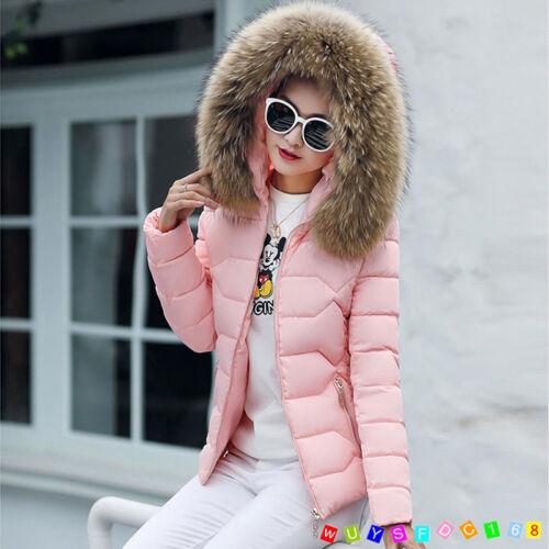 Winter Women Down Cotton Jacket Slim Short Fur Collar Hood Coat Parka UK size