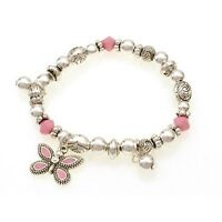 Childrens Pink And Silver Beaded Stretch Bracelet W Pink Butterfly Charm