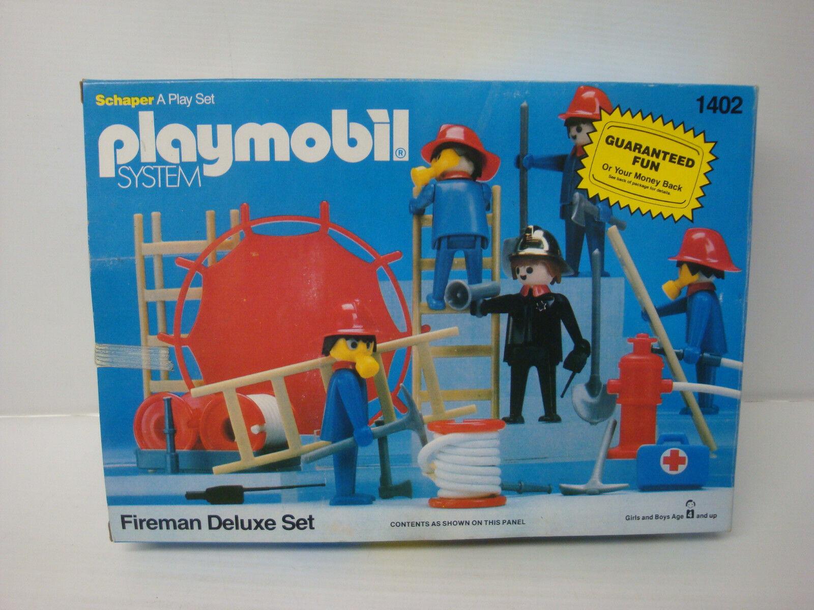 Playmobil Schaper USA état neuf en boite scellée - set pompiers 1402