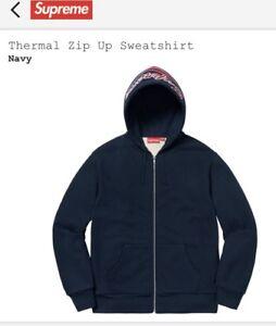 f0e7887f NWT Supreme Hoodie Thermal Zip Up Sweatshirt Color:Navy Size: Medium ...