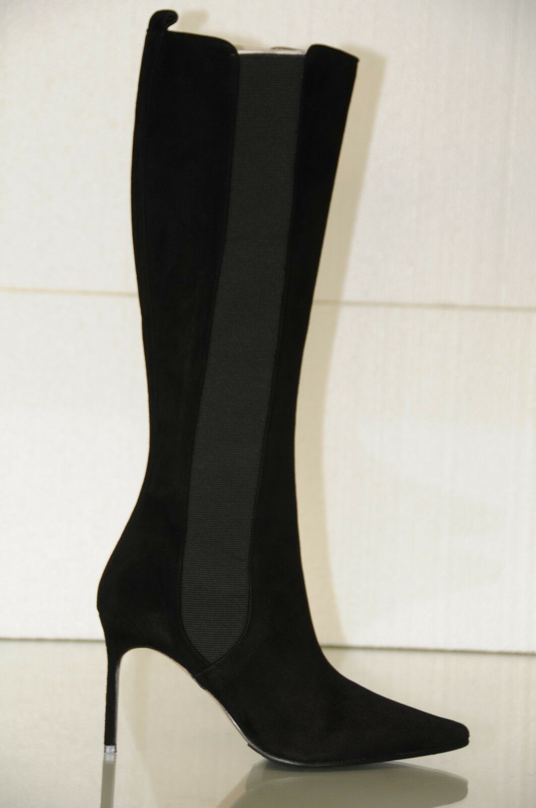 New MANOLO BLAHNIK TUNGADEHI BB Black Suede Stretch Boots SHOES 37 39 40.5