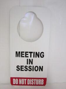 durable do not disturb door hanger sign meeting in session ebay