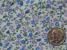 "Tiny Blue Purple Tulips Flowers on Light Blue Doll Quilt Fabric 44"" BTHY 1/2 yd"