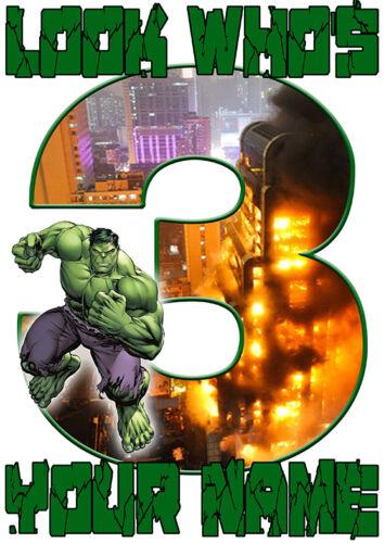 Hulk personnalisé anniversaire Nombre Âge Iron On Transfert A4 A5 A6