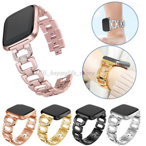 Lady-Bling-Rhinestone-Stainless-Steel-Watch-Wrist-Band-Strap-For-Fitbit-Versa-US