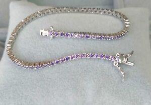 AAA-Quality-925-Sterling-Silver-Jewelry-Purple-Amethyst-Ladie-039-s-Tennis-Bracelet