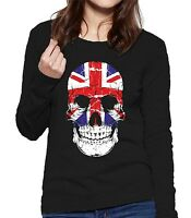 Velocitee Ladies Long Sleeve T-Shirt UK Skull GB Union Jack Flag British V16
