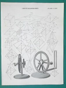 MINERALOGY-Theory-of-Crystals-Brewster-039-s-Goniometer-1814-Antique-Print