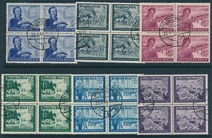 Stamp-Germany-Mi-888-93-Sc-B272-7-Blocks-1944-WWII-3rd-Reich-Letter-Carrier-Used