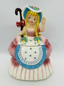Vintage-1950-s-Napco-Little-Bo-Peep-Ceramic-Cookie-Jar-Nursery-Rhyme-Series