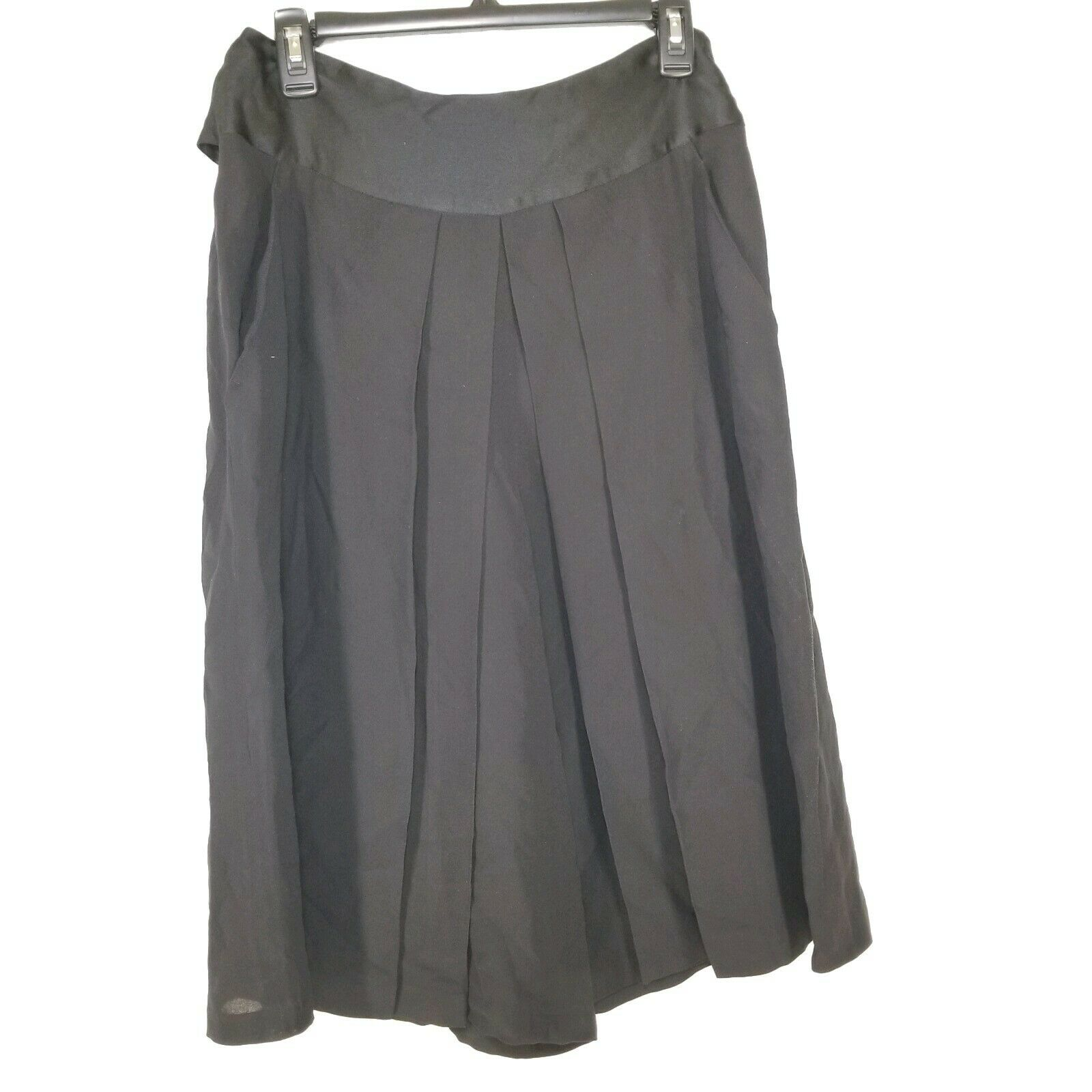 C14 ALEXANDER McQUEEN  para Mujer Negro Seda Plisado Falda Completa tie up talla 42  muy popular