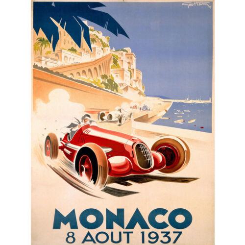 21 24x36In Y245 1937 Monaco Grand Prix Classic Motor Racing Vintage Poster Art
