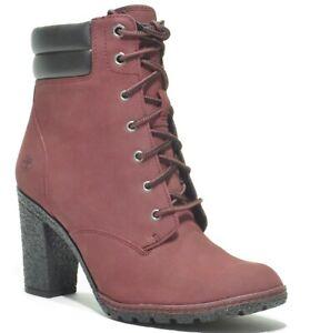 Timberland-Women-039-s-Tillston-High-Heel-Brown-Burgundy-6-inch-Leather-Boots-A1ZVU