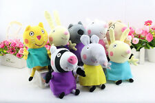 "8Pcs Peppa Pig Friends Plush Doll Stuffed Toy 8"" Tall Suzy Sheep Rebecca Rabbit"