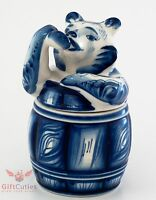 Gzhel Honey Barrel Pot Jar With Bear As Top Cover Handpainted