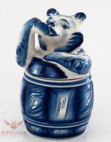 Gzhel Honey Barrel Pot Jar With Bear As Top Cover Handpainted