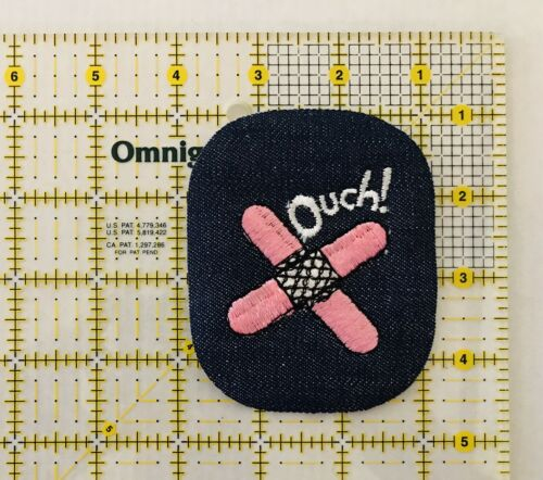 Vintage Ouch Band Aid Iron On Patch Unused Pink  Band Aid