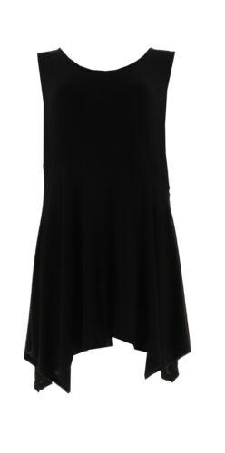 Linea Louis Dell/'Olio Slvless Asymmetric Hem Knit Tank Tunic Black M NEW A254439